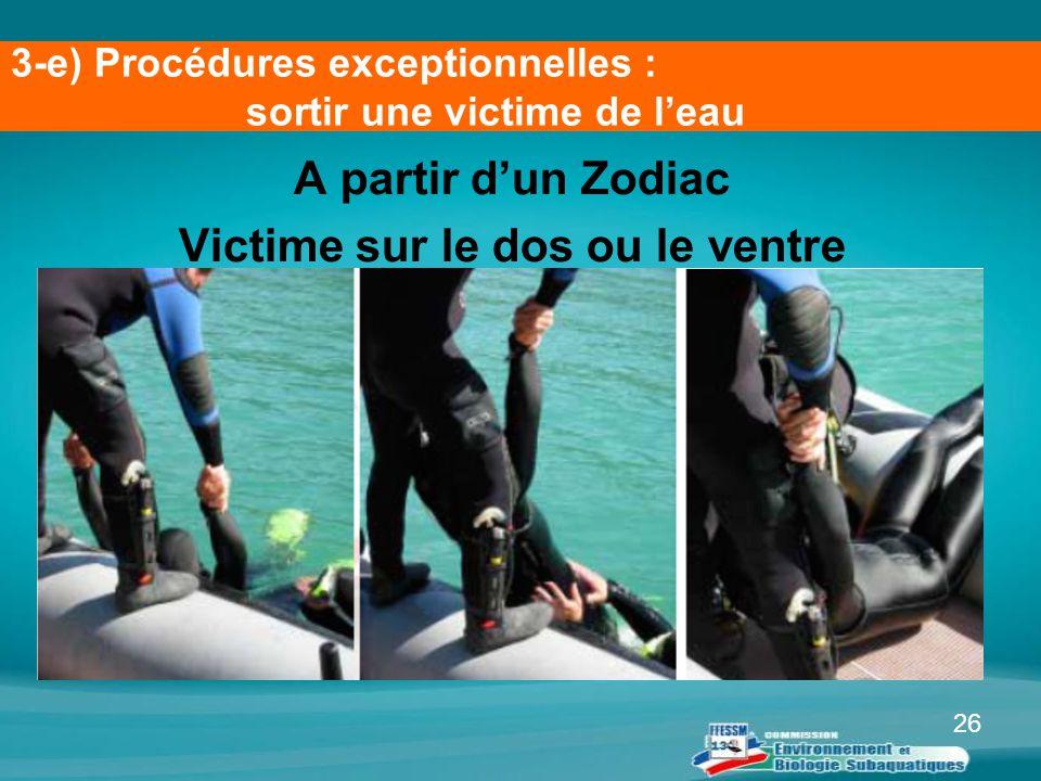 26 A partir d'un Zodiac Victime sur le dos ou le ventre 3-e) Procédures exceptionnelles : sortir une victime de l'eau