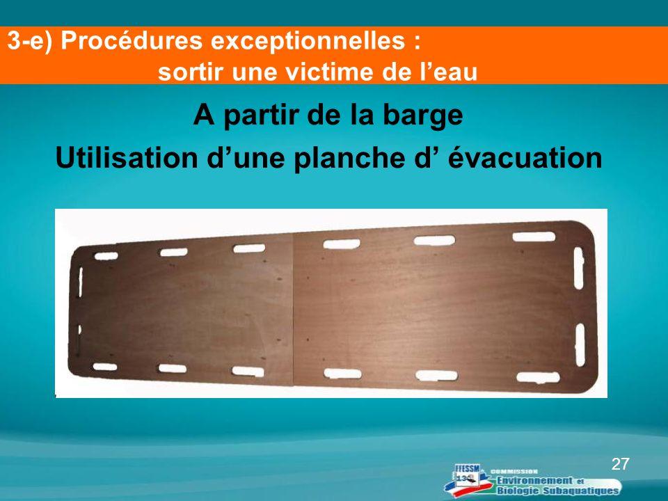 27 A partir de la barge Utilisation d'une planche d' évacuation 3-e) Procédures exceptionnelles : sortir une victime de l'eau