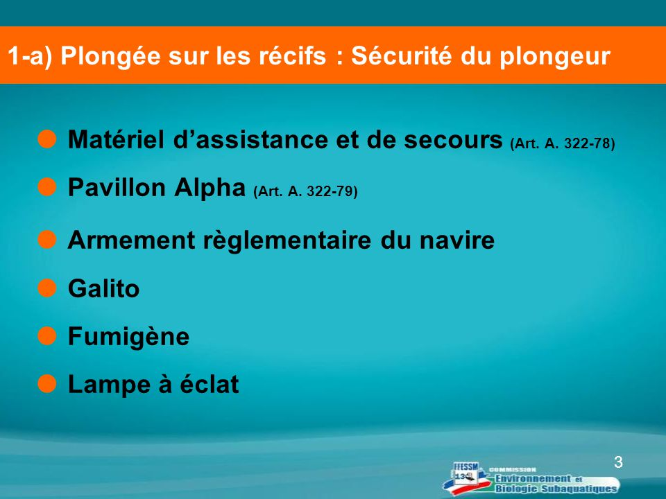 3  Matériel d'assistance et de secours (Art. A. 322-78)  Pavillon Alpha (Art. A. 322-79)  Armement règlementaire du navire  Galito  Fumigène  La
