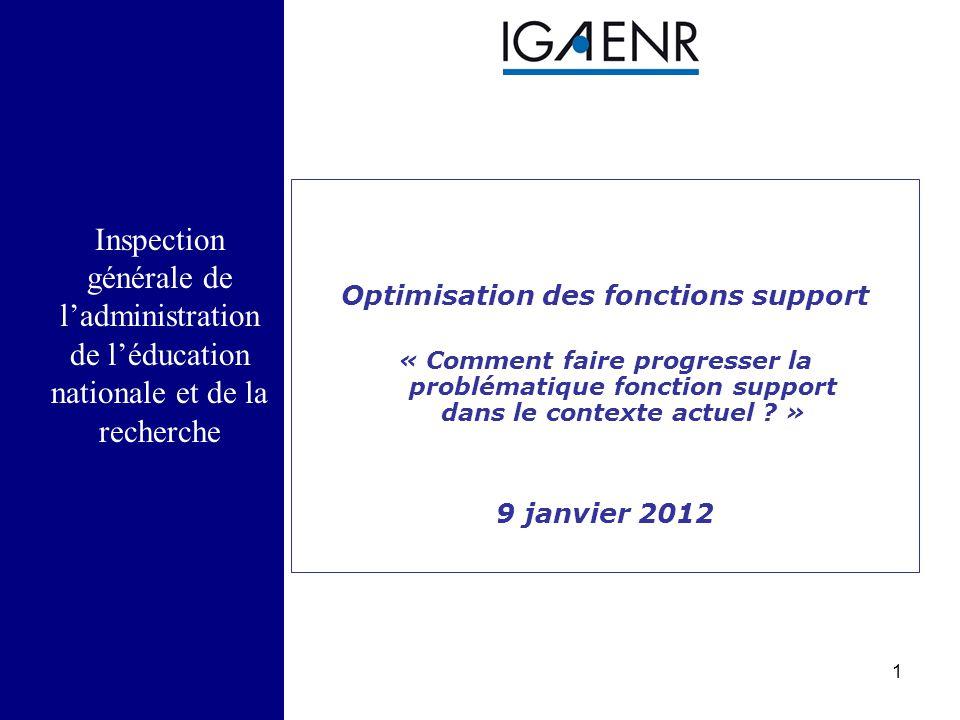 1 Inspection générale de l'administration de l'éducation nationale et de la recherche Optimisation des fonctions support « Comment faire progresser la problématique fonction support dans le contexte actuel .