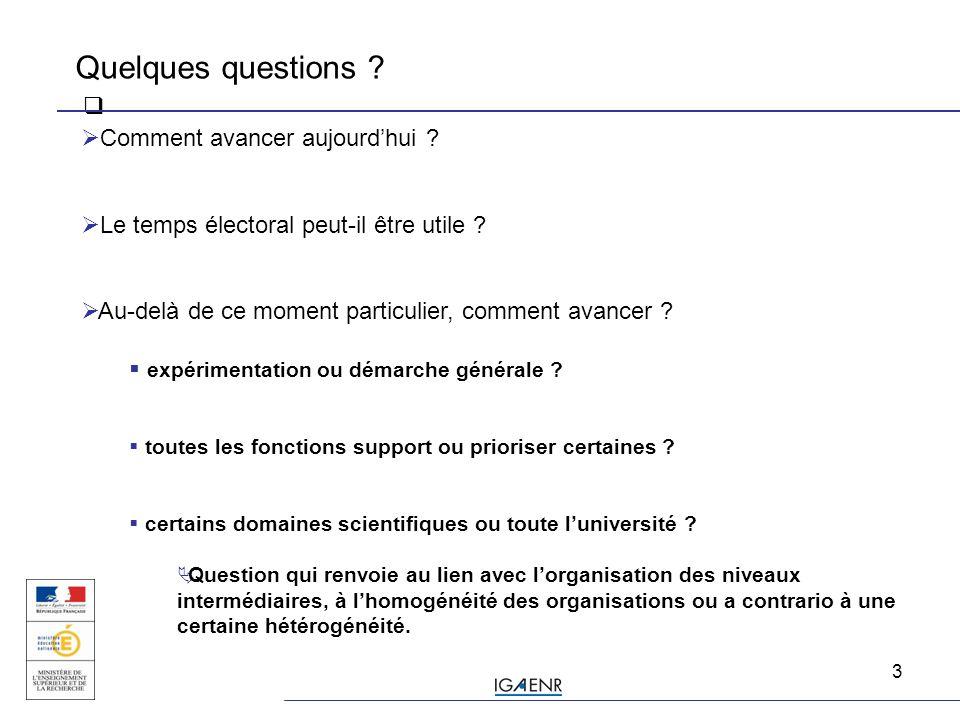 4  une question préalable: quel est le degré de prise de conscience de la problématique fonctions support .