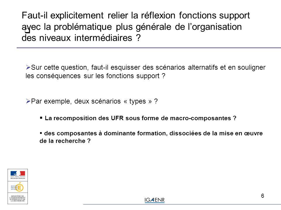 6  Faut-il explicitement relier la réflexion fonctions support avec la problématique plus générale de l'organisation des niveaux intermédiaires .