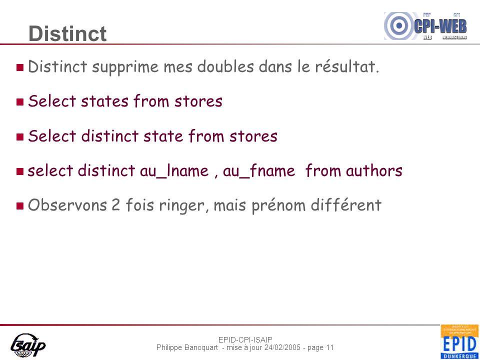 EPID-CPI-ISAIP Philippe Bancquart - mise à jour 24/02/2005 - page 11 Distinct Distinct supprime mes doubles dans le résultat.