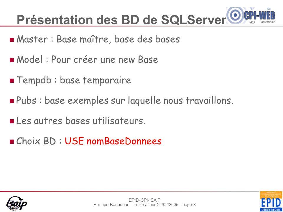 EPID-CPI-ISAIP Philippe Bancquart - mise à jour 24/02/2005 - page 8 Présentation des BD de SQLServer Master : Base maître, base des bases Model : Pour créer une new Base Tempdb : base temporaire Pubs : base exemples sur laquelle nous travaillons.