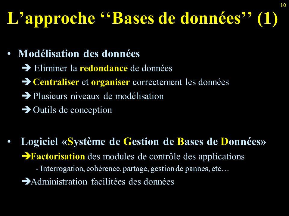 10 L'approche ''Bases de données'' (1) Modélisation des données  Eliminer la redondance de données  Centraliser et organiser correctement les donnée
