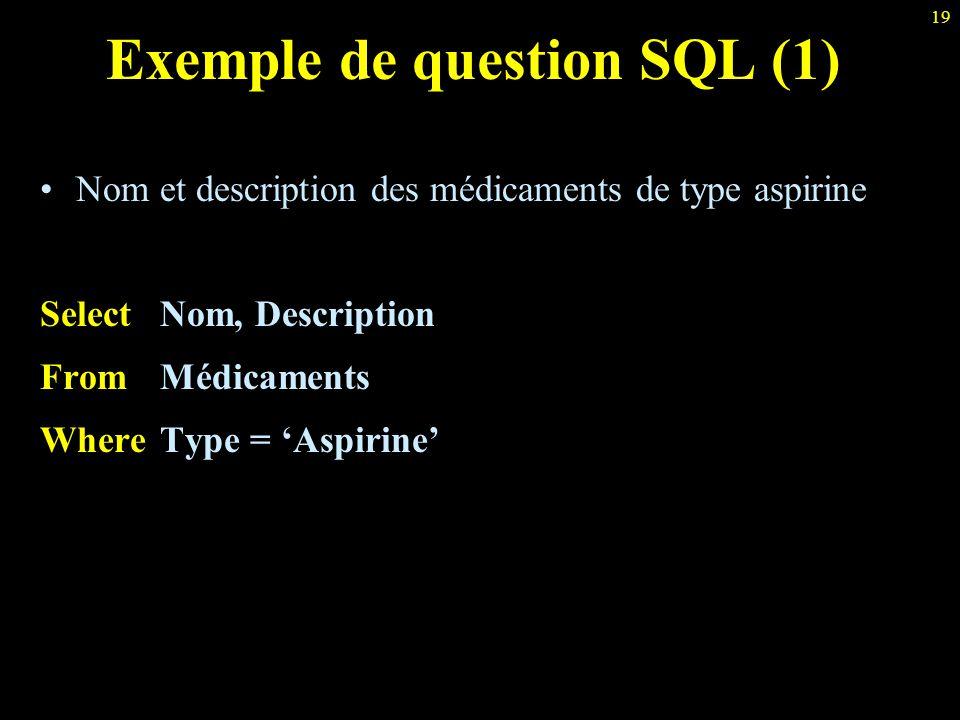 19 Exemple de question SQL (1) Nom et description des médicaments de type aspirine Select Nom, Description From Médicaments Where Type = 'Aspirine'