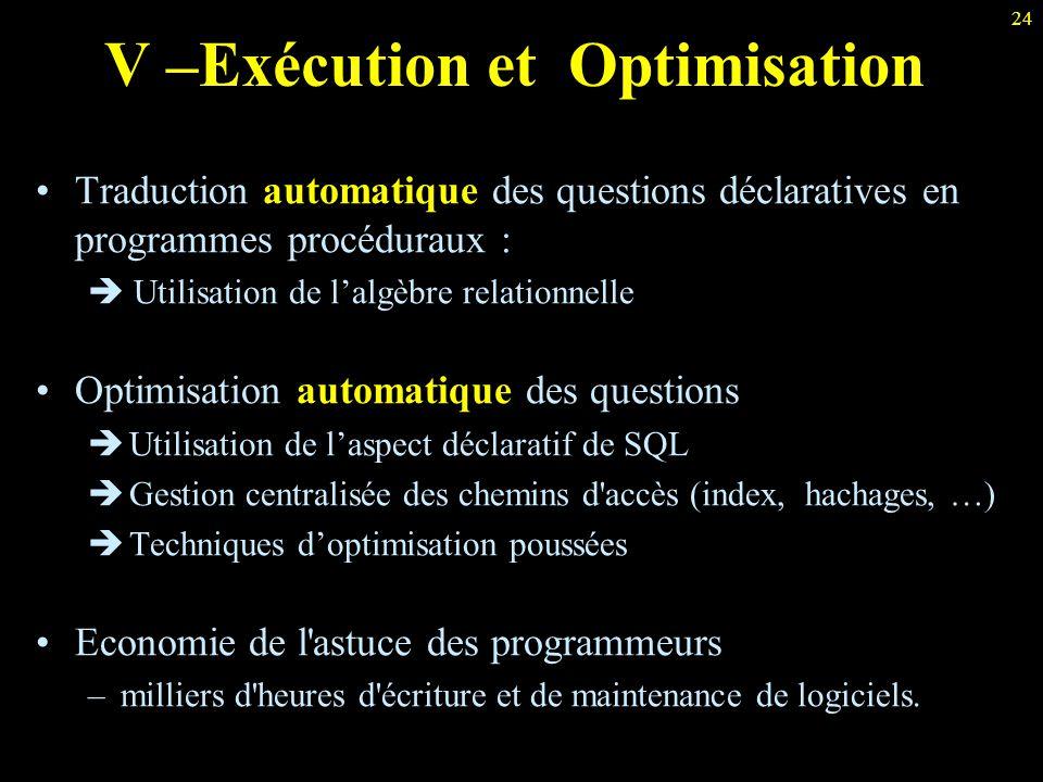 24 V –Exécution et Optimisation Traduction automatique des questions déclaratives en programmes procéduraux :  Utilisation de l'algèbre relationnelle