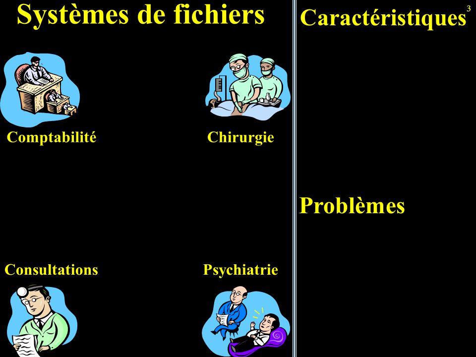 3 Chirurgie Psychiatrie Systèmes de fichiers Caractéristiques Comptabilité Consultations Problèmes