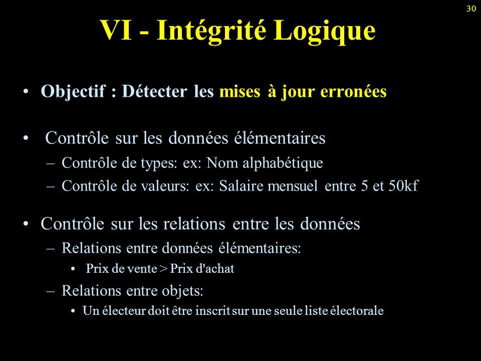30 VI - Intégrité Logique Objectif : Détecter les mises à jour erronées Contrôle sur les données élémentaires –Contrôle de types: ex: Nom alphabétique