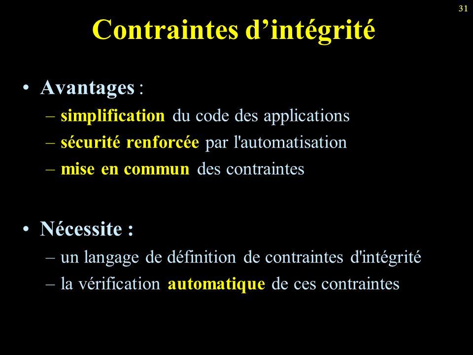 31 Contraintes d'intégrité Avantages : –simplification du code des applications –sécurité renforcée par l'automatisation –mise en commun des contraint