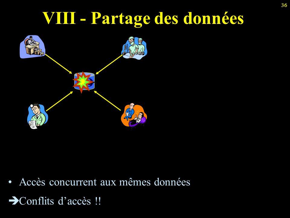 36 VIII - Partage des données BD Accès concurrent aux mêmes données  Conflits d'accès !!