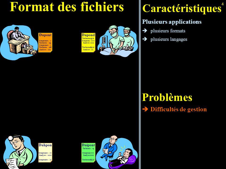 4 Format des fichiers Caractéristiques Plusieurs applications  plusieurs formats  plusieurs langages Problèmes  Difficultés de gestion Dupont Sympt