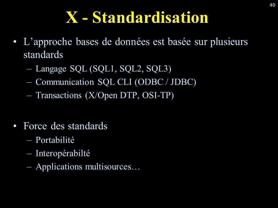 40 X - Standardisation L'approche bases de données est basée sur plusieurs standards –Langage SQL (SQL1, SQL2, SQL3) –Communication SQL CLI (ODBC / JD