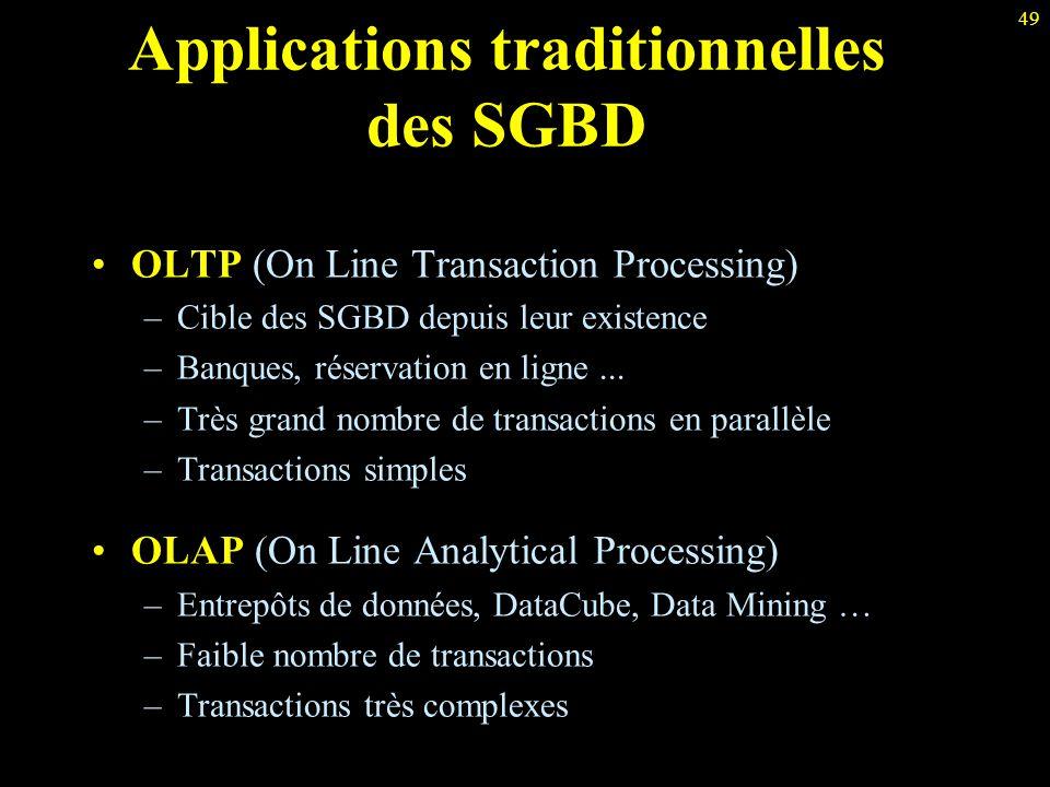 49 Applications traditionnelles des SGBD OLTP (On Line Transaction Processing) –Cible des SGBD depuis leur existence –Banques, réservation en ligne...