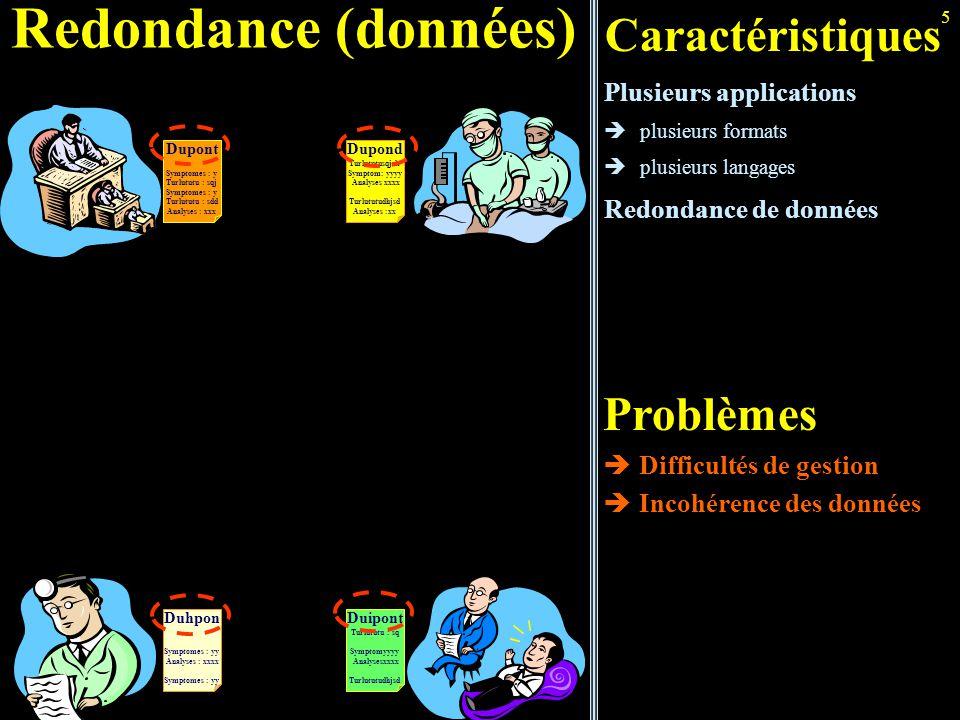 5 Redondance (données) Caractéristiques Plusieurs applications  plusieurs formats  plusieurs langages Redondance de données Problèmes  Difficultés