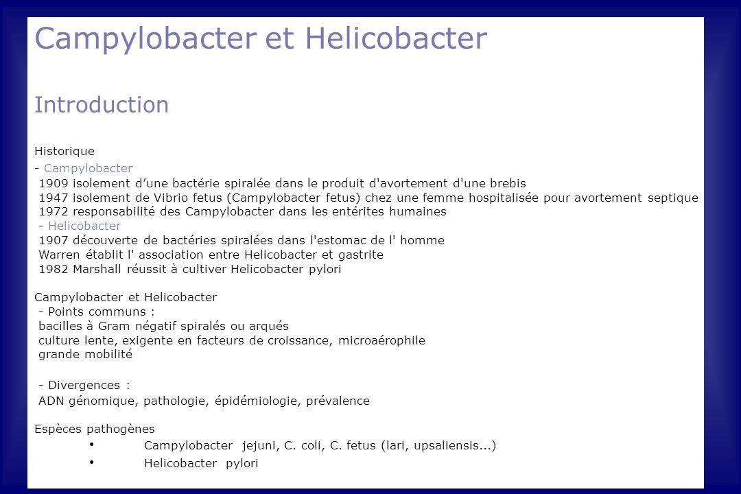 Campylobacter et Helicobacter Introduction Historique - Campylobacter 1909 isolement d'une bactérie spiralée dans le produit d'avortement d'une brebis