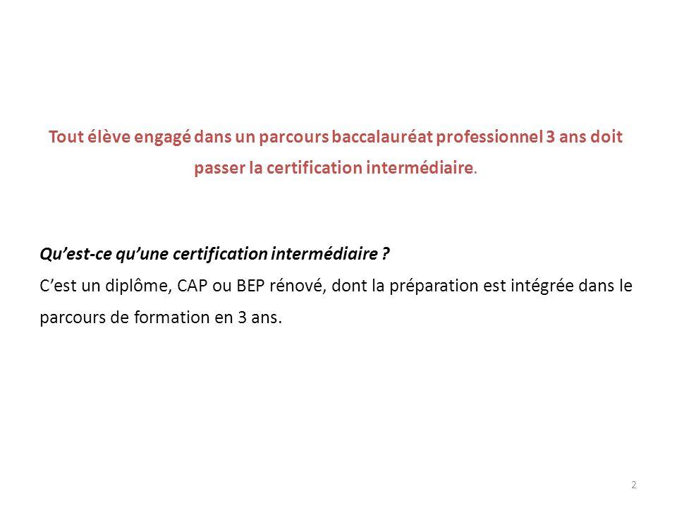 Tout élève engagé dans un parcours baccalauréat professionnel 3 ans doit passer la certification intermédiaire.