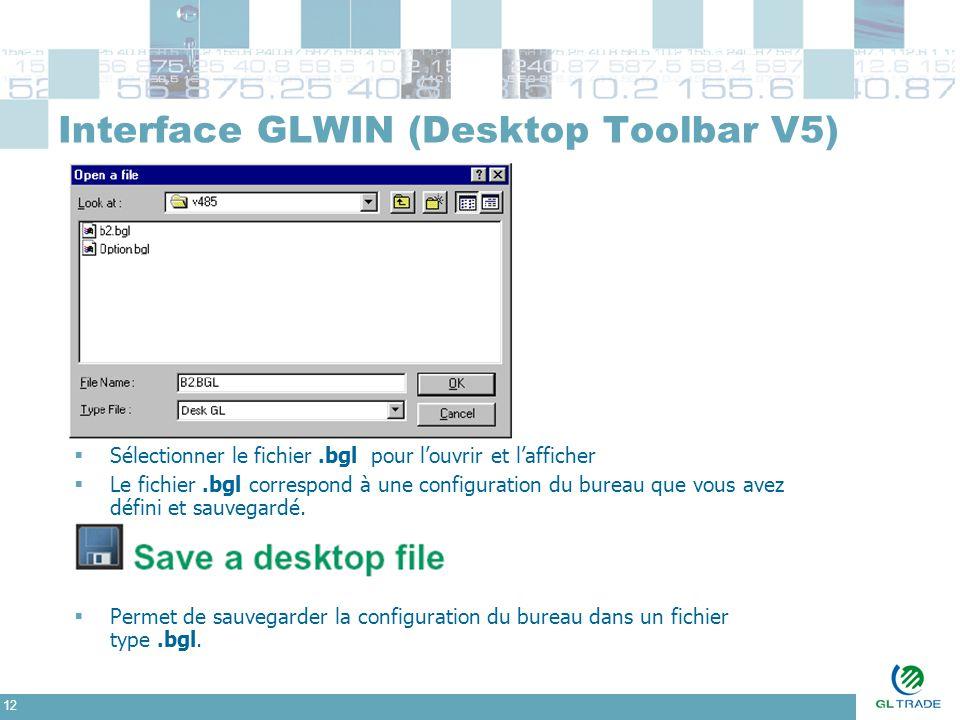 12 Interface GLWIN (Desktop Toolbar V5)  Sélectionner le fichier.bgl pour l'ouvrir et l'afficher  Le fichier.bgl correspond à une configuration du b