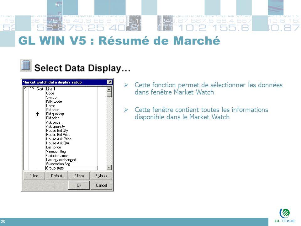 20 GL WIN V5 : Résumé de Marché  Cette fonction permet de sélectionner les données dans fenêtre Market Watch  Cette fenêtre contient toutes les info
