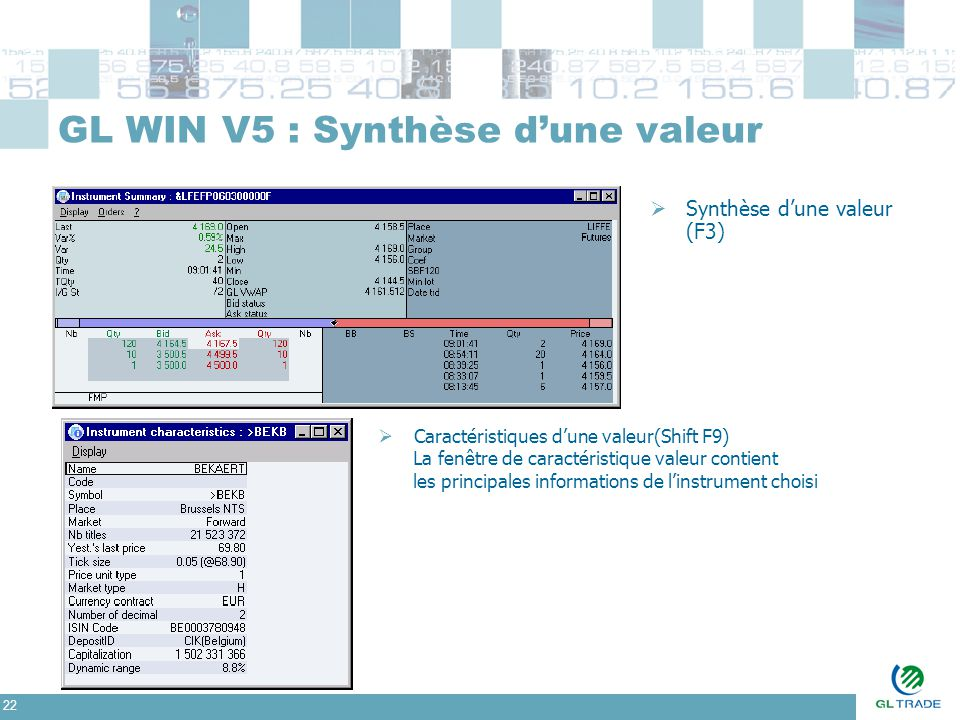 22 GL WIN V5 : Synthèse d'une valeur  Synthèse d'une valeur (F3)  Caractéristiques d'une valeur(Shift F9) La fenêtre de caractéristique valeur conti