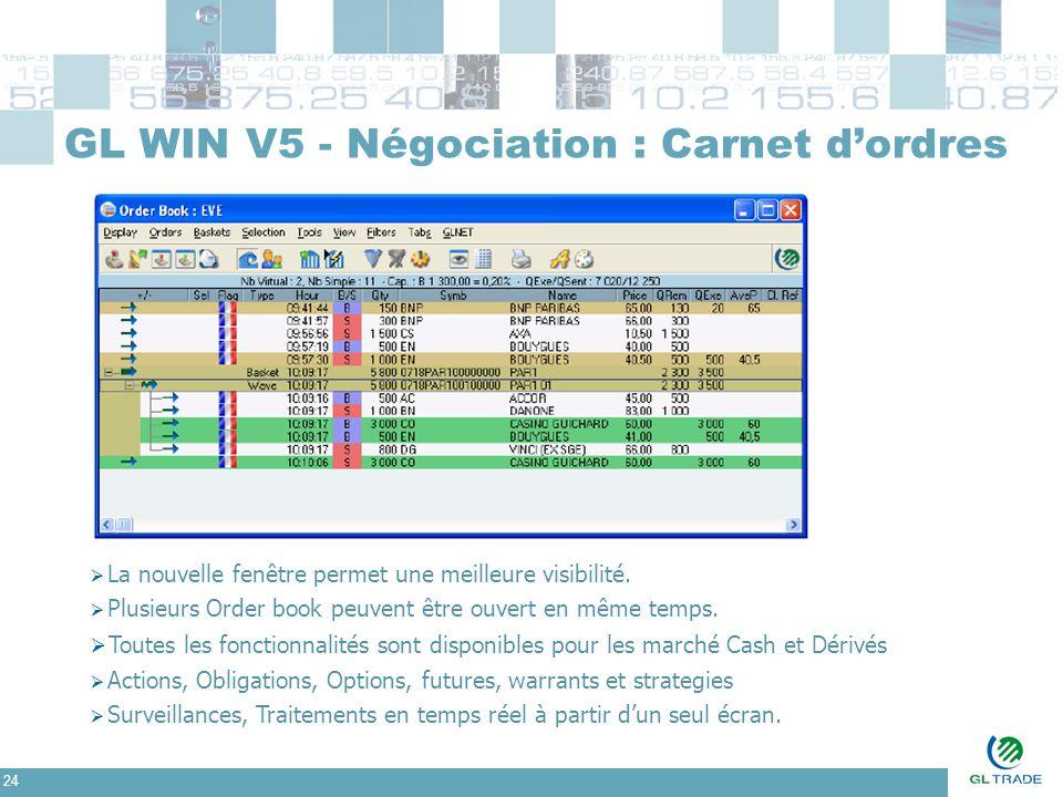 24 GL WIN V5 - Négociation : Carnet d'ordres  La nouvelle fenêtre permet une meilleure visibilité.  Plusieurs Order book peuvent être ouvert en même
