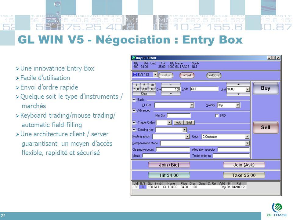 27 GL WIN V5 - Négociation : Entry Box  Une innovatrice Entry Box  Facile d'utilisation  Envoi d'ordre rapide  Quelque soit le type d'instruments