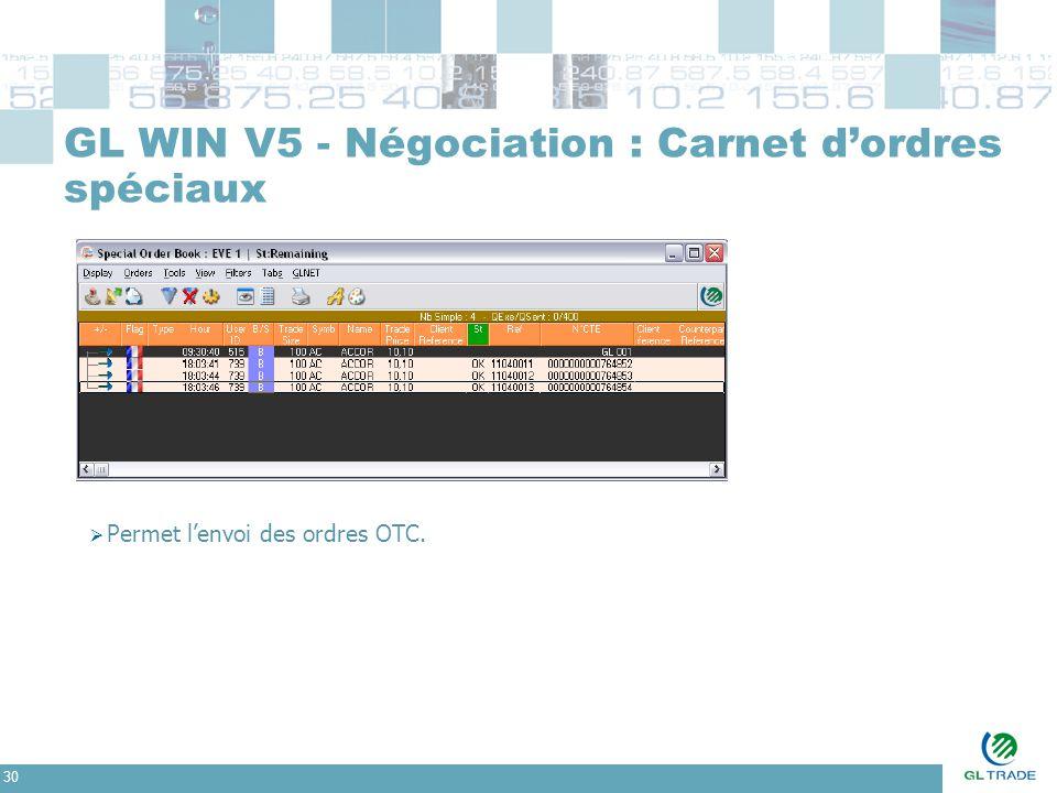30 GL WIN V5 - Négociation : Carnet d'ordres spéciaux  Permet l'envoi des ordres OTC.