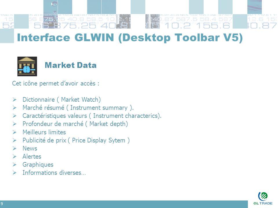 9 Interface GLWIN (Desktop Toolbar V5) Market Data Cet icône permet d'avoir accès :  Dictionnaire ( Market Watch)  Marché résumé ( Instrument summar