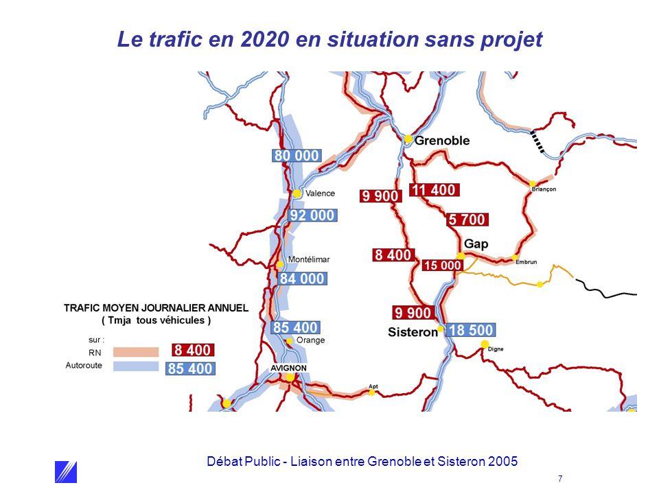 Débat Public - Liaison entre Grenoble et Sisteron 2005 7 Le trafic en 2020 en situation sans projet