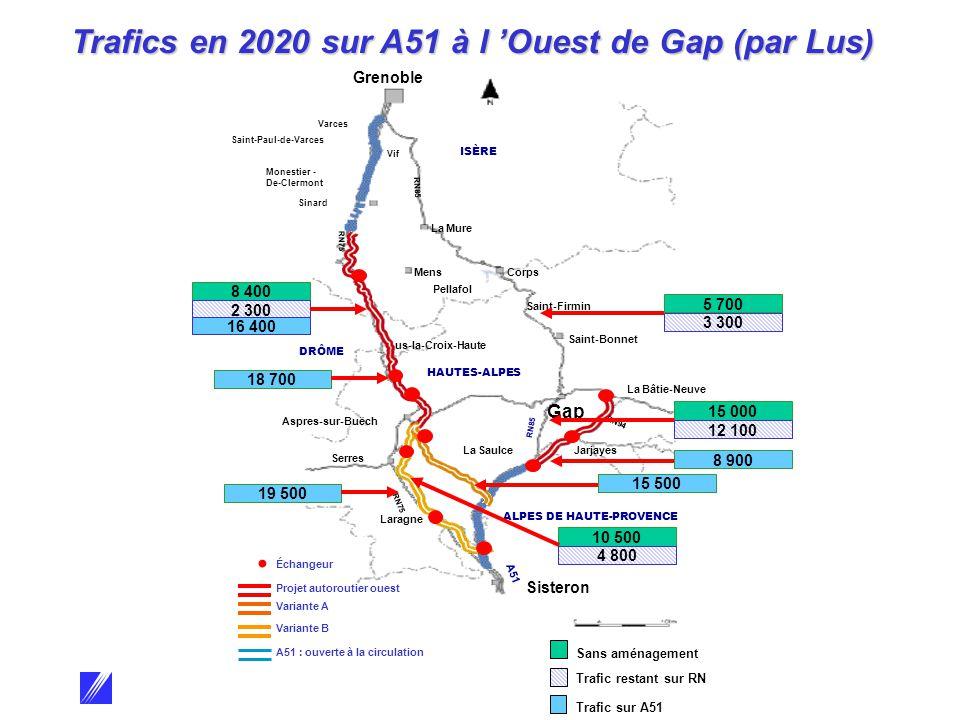 Grenoble Varces Saint-Paul-de-Varces Vif Sinard Monestier - De-Clermont La Mure Mens Corps Pellafol Saint-Firmin Saint-Bonnet Lus-la-Croix-Haute La Bâtie-Neuve Jarjayes La Saulce Aspres-sur-Buëch Serres Laragne Sisteron Gap RN75 RN85 RN94 A51 ISÈRE HAUTES-ALPES DRÔME ALPES DE HAUTE-PROVENCE ÉCHANGEUR Variante B A51 : ouverte à la circulation Échangeur Projet autoroutier ouest Variante A 18 700 5 700 3 300 15 000 12 100 8 900 10 500 4 800 8 400 2 300 16 400 19 500 15 500 Sans aménagement Trafic restant sur RN Trafic sur A51 Trafics en 2020 sur A51 à l 'Ouest de Gap (par Lus)