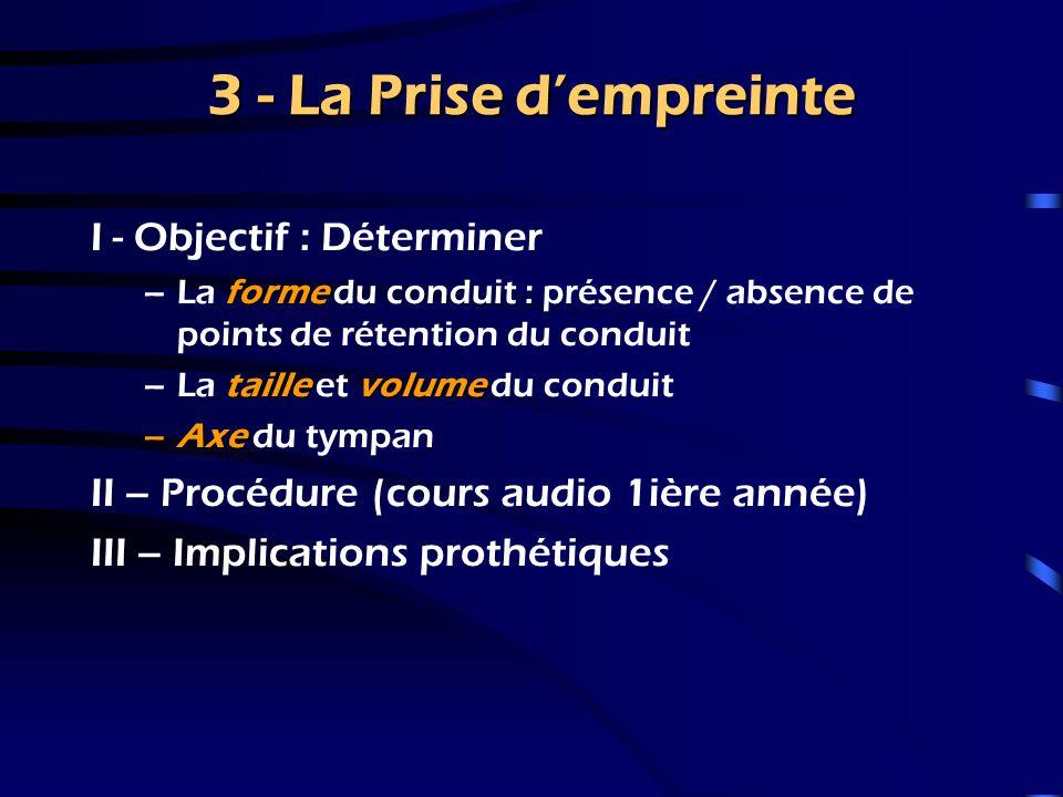 2 – Les Examens Prothétiques 3 – Présentation des résultats Fournir au patient des informations relatives à son potentiel auditif Que peut-il attendre de l'appareil auditif ?