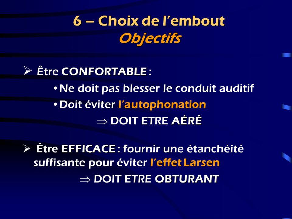 6 – Choix de l'embout Introduction  Données audiométriques  Données physiologiques  Capacités manuelles, visuelles du malentendant