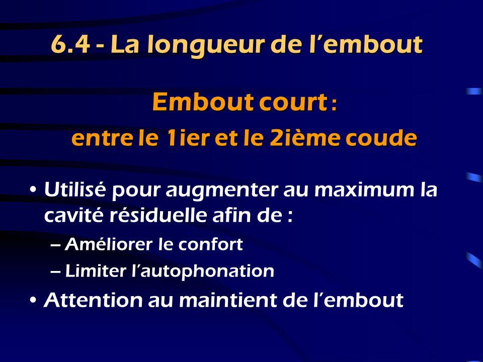 6.4 - La longueur de l'embout Embout moyen : au 2ième coude surdités moyennes & sévères –Permet une bonne orientation de la sortie écouteur dans l'axe du tympan –Le plus couramment utilisé