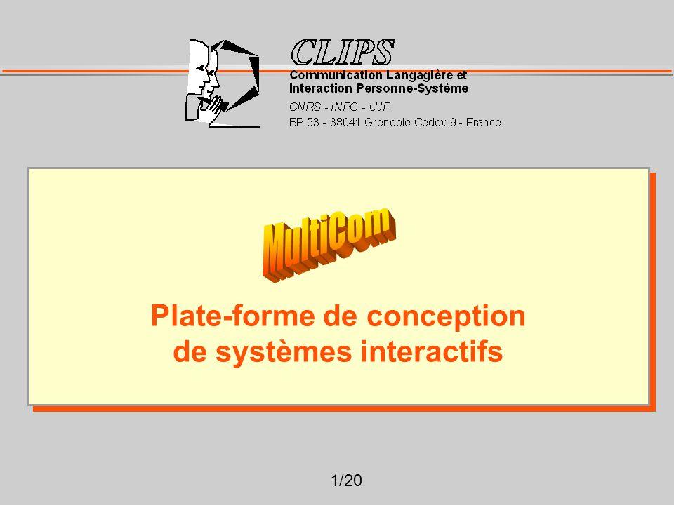 1/20 Plate-forme de conception de systèmes interactifs Plate-forme de conception de systèmes interactifs