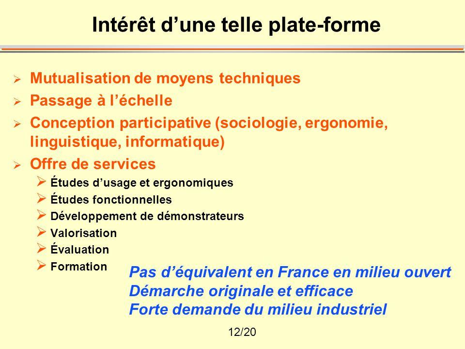 12/20 Intérêt d'une telle plate-forme  Mutualisation de moyens techniques  Passage à l'échelle  Conception participative (sociologie, ergonomie, li