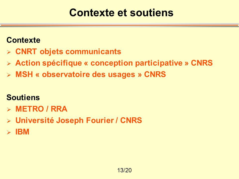 13/20 Contexte et soutiens Contexte  CNRT objets communicants  Action spécifique « conception participative » CNRS  MSH « observatoire des usages » CNRS Soutiens  METRO / RRA  Université Joseph Fourier / CNRS  IBM