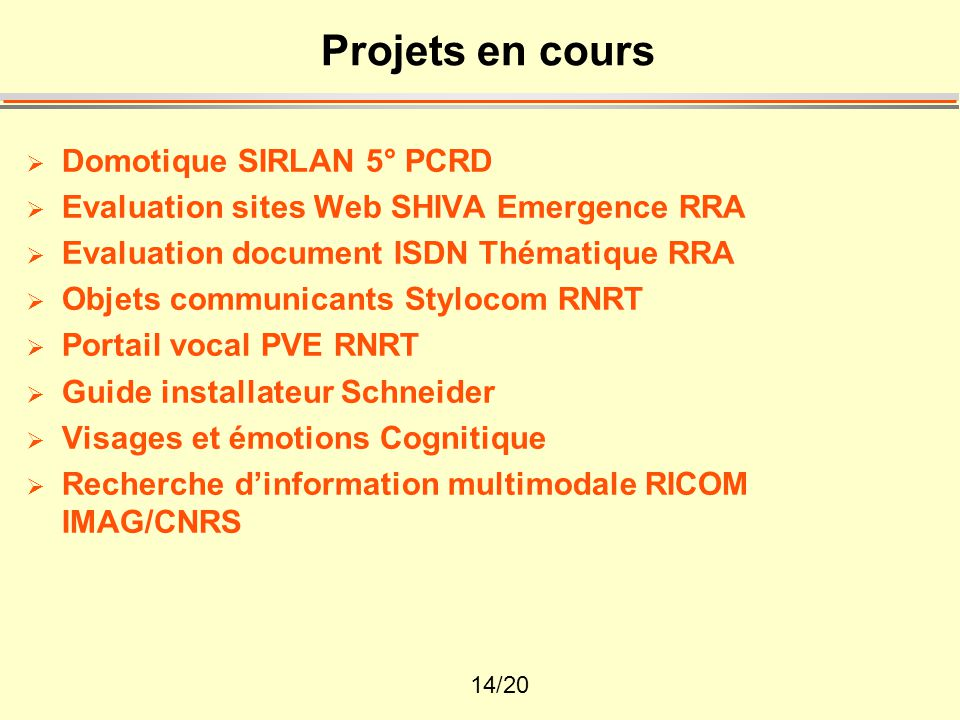 14/20 Projets en cours  Domotique SIRLAN 5° PCRD  Evaluation sites Web SHIVA Emergence RRA  Evaluation document ISDN Thématique RRA  Objets commun