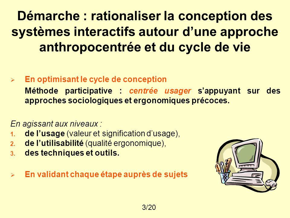 3/20 Démarche : rationaliser la conception des systèmes interactifs autour d'une approche anthropocentrée et du cycle de vie  En optimisant le cycle