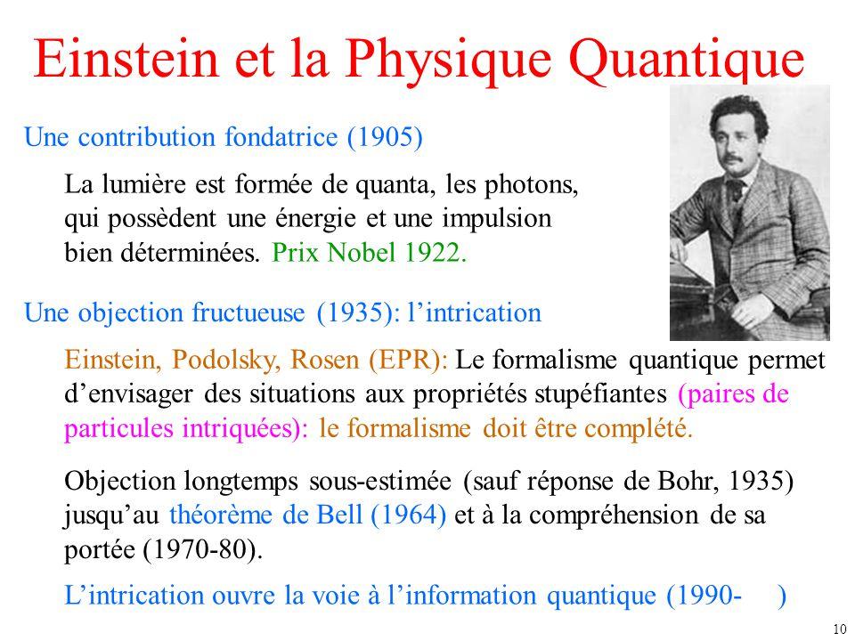 10 Einstein et la Physique Quantique Une contribution fondatrice (1905) La lumière est formée de quanta, les photons, qui possèdent une énergie et une