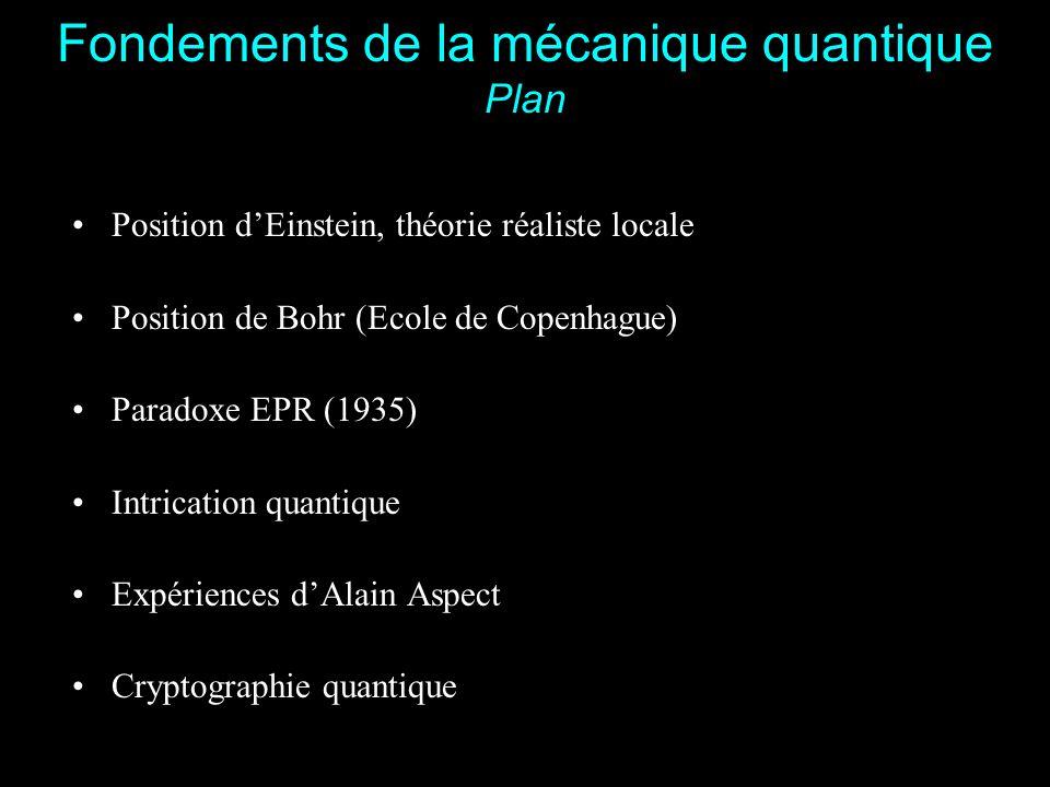 3 Fondements de la mécanique quantique Position d'Einstein, théorie réaliste locale La réalité physique est indépendantes des observateurs humains : Réalisme L'induction est un mode de raisonnement valable : Libre induction Aucune information ne se propage plus vite que c : Séparabilité einsteinienne La mécanique quantique est juste mais incomplète.
