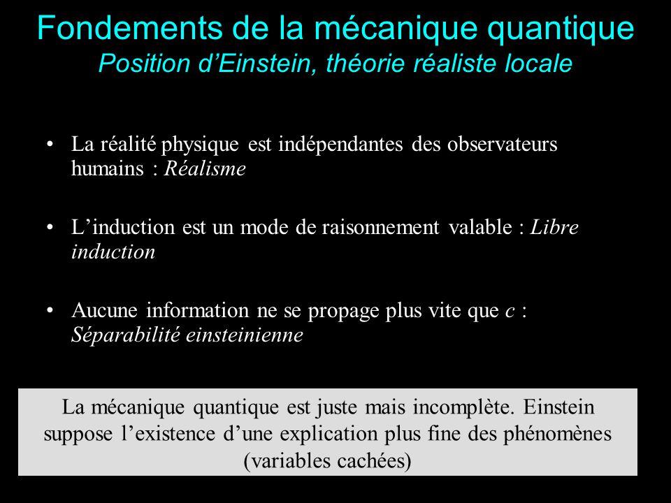 4 Fondements de la mécanique quantique Position de Bohr (Ecole de Copenhague) La mécanique quantique est un ensemble de règles de calcul permettant de prédire les résultats des expériences Il n'existe pas de variable cachée Conflit avec la théorie réaliste locale Inégalités de Bell (1964)
