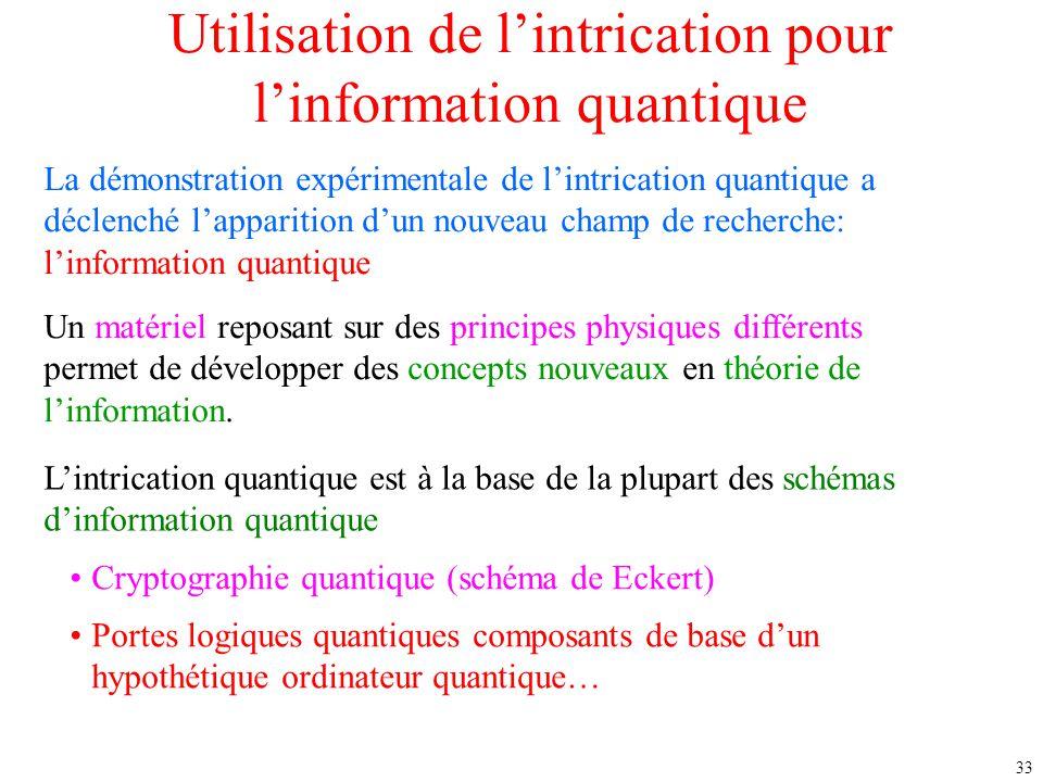 33 Utilisation de l'intrication pour l'information quantique Un matériel reposant sur des principes physiques différents permet de développer des conc