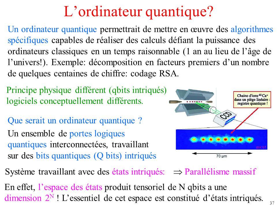 37 L'ordinateur quantique? Un ordinateur quantique permettrait de mettre en œuvre des algorithmes spécifiques capables de réaliser des calculs défiant