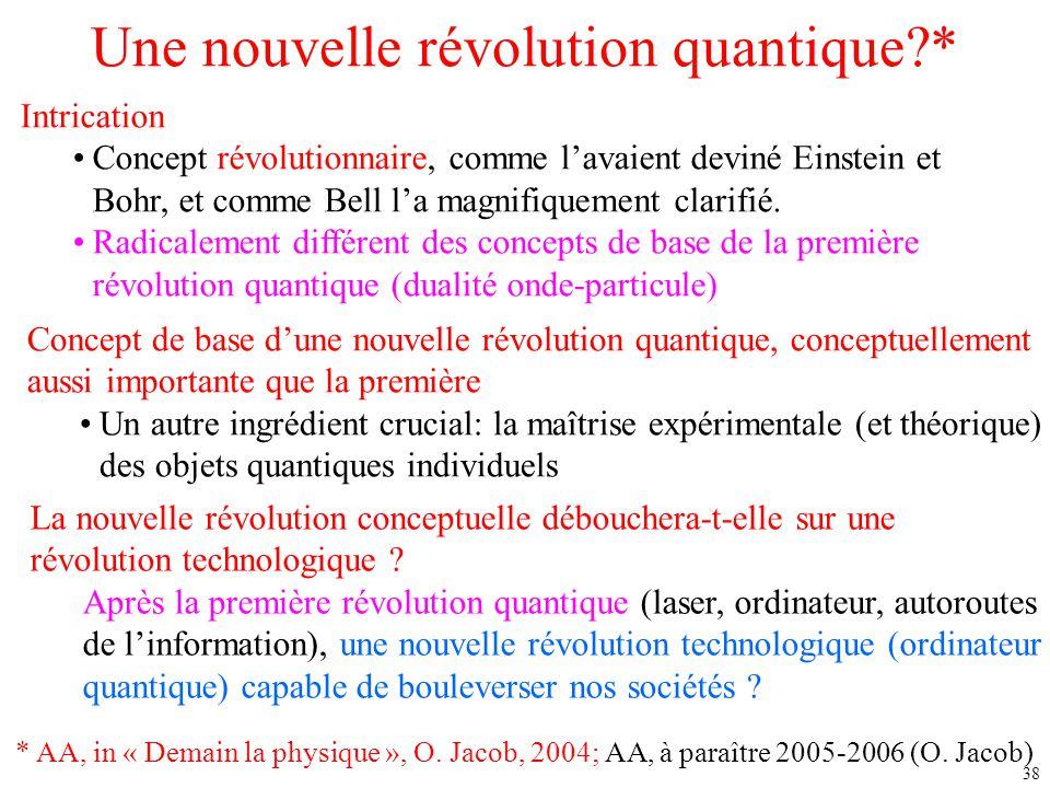 38 Une nouvelle révolution quantique?* Intrication Concept révolutionnaire, comme l'avaient deviné Einstein et Bohr, et comme Bell l'a magnifiquement