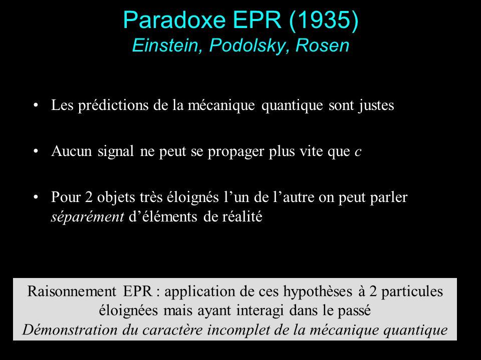 6 Paradoxe EPR (1935) Einstein, Podolsky, Rosen Les prédictions de la mécanique quantique sont justes Aucun signal ne peut se propager plus vite que c