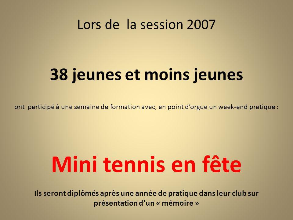 Lors de la session 2007 38 jeunes et moins jeunes ont participé à une semaine de formation avec, en point d'orgue un week-end pratique : Mini tennis e