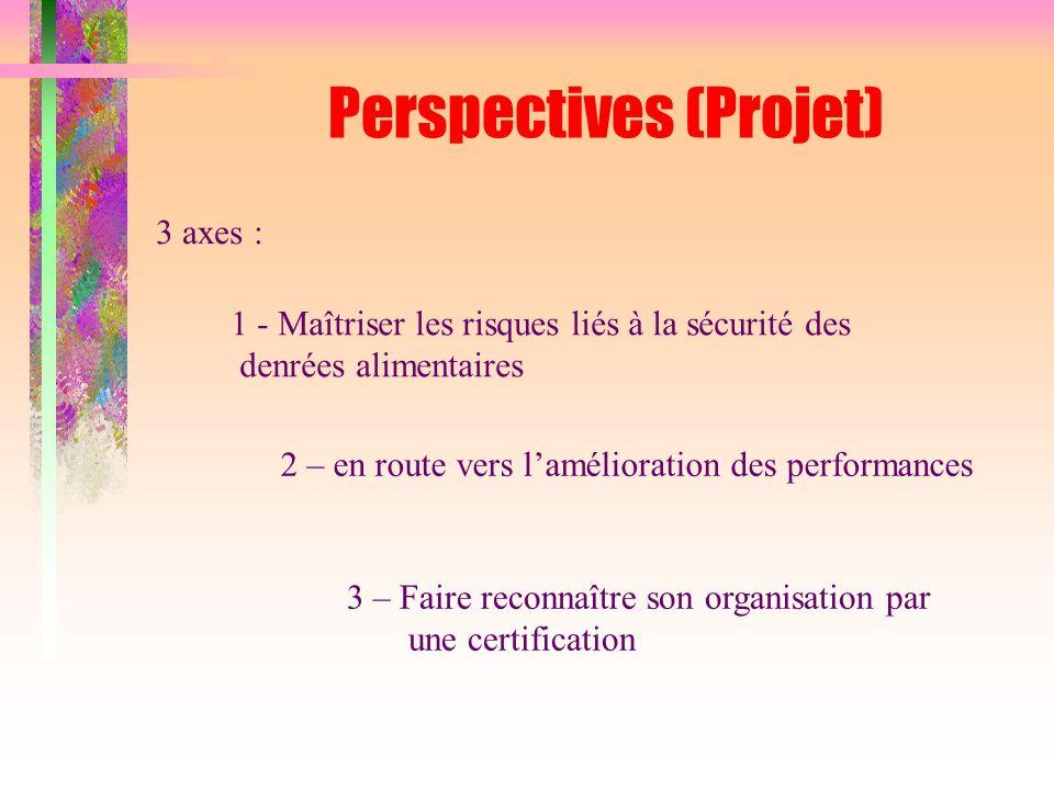 Perspectives (Projet) 1 - Maîtriser les risques liés à la sécurité des denrées alimentaires 3 axes : 2 – en route vers l'amélioration des performances