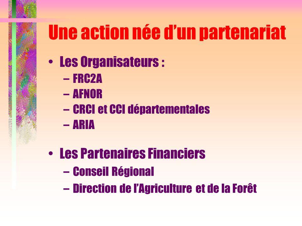 Une action née d'un partenariat Les Organisateurs : –FRC2A –AFNOR –CRCI et CCI départementales –ARIA Les Partenaires Financiers –Conseil Régional –Dir