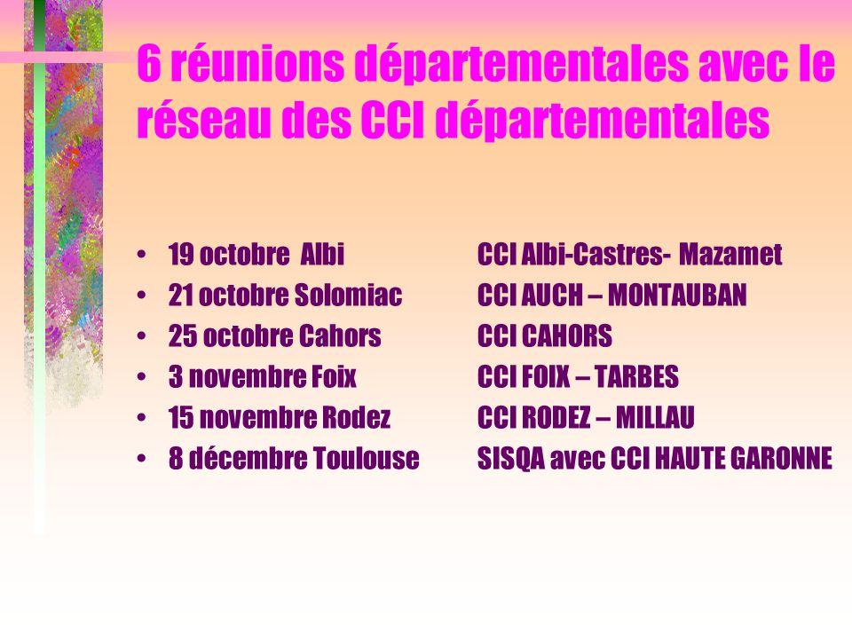 6 réunions départementales avec le réseau des CCI départementales 19 octobre Albi CCI Albi-Castres- Mazamet 21 octobre SolomiacCCI AUCH – MONTAUBAN 25