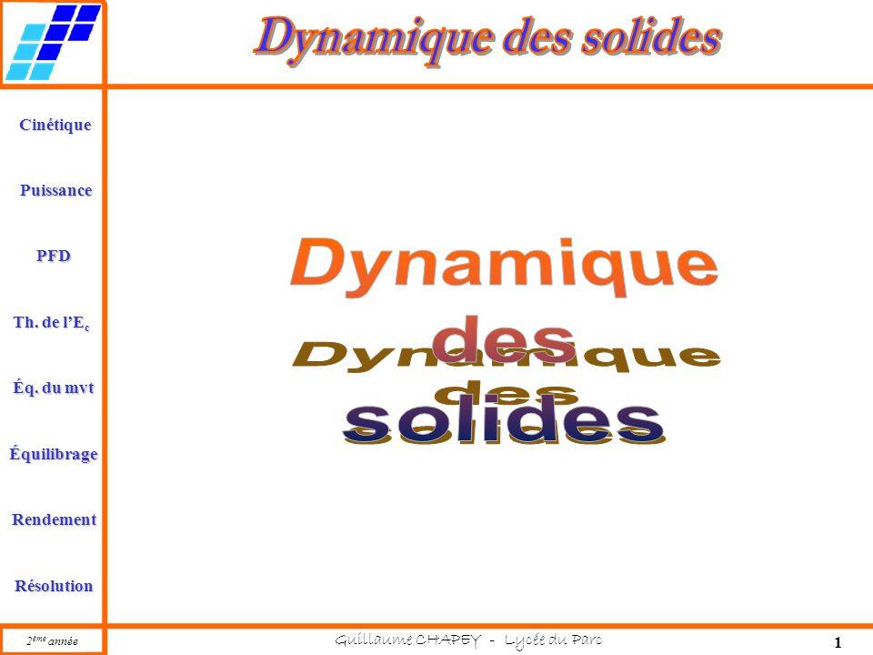 Cinétique PFD Rendement Résolution Puissance Th. de l'E c Éq. du mvt Équilibrage 2 ème année Guillaume CHAPEY - Lycée du Parc 1